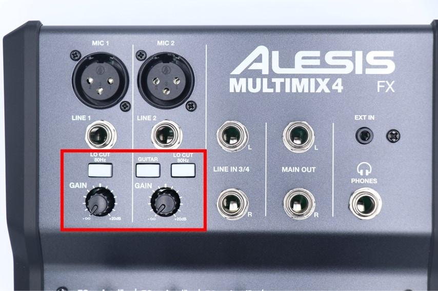ALESIS MULTIMIX 4 USB FXのGAINやローカット