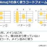 Amaj7でよく使うコードフォーム 3パターン