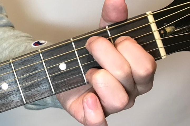 ギターでEmM7を押さえている写真