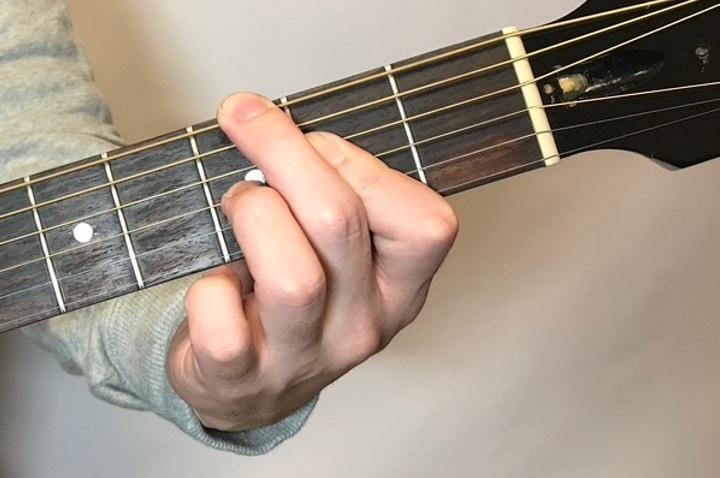 ギターでGdimを押さえているところ