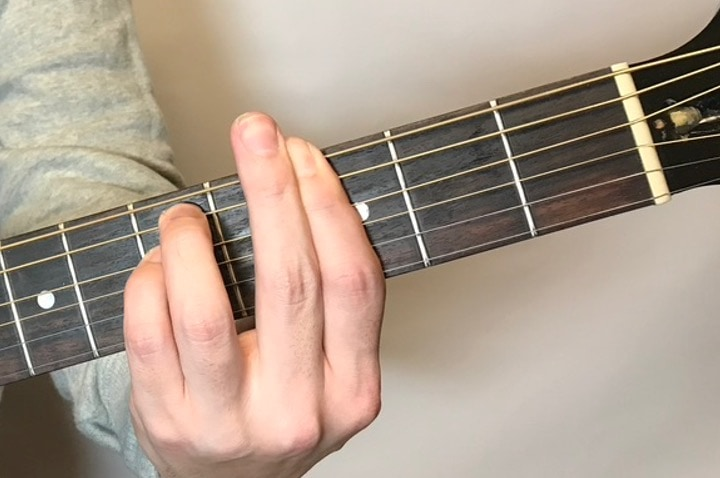 ギターでGmコードを押さえている写真