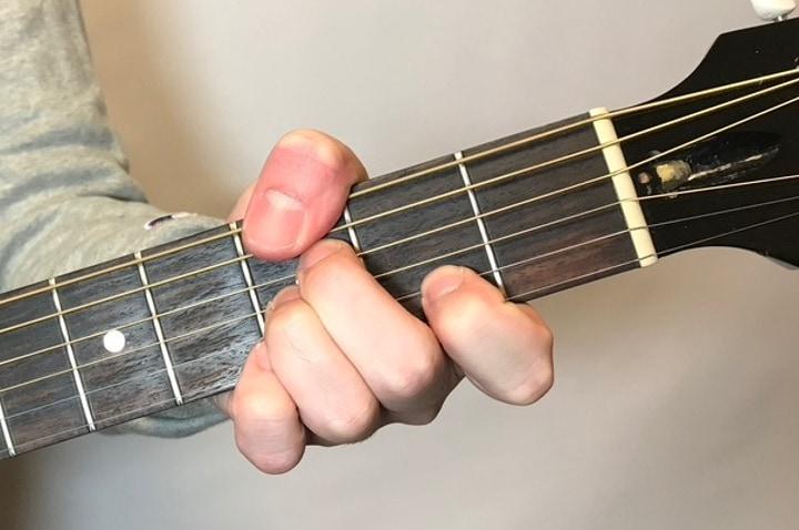 ギターでGm7-5を押さえているところ