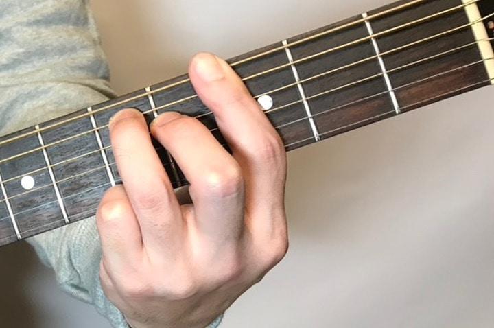 ギターでGmM7を押さえている写真