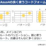 Asus4のコードフォーム 3種類