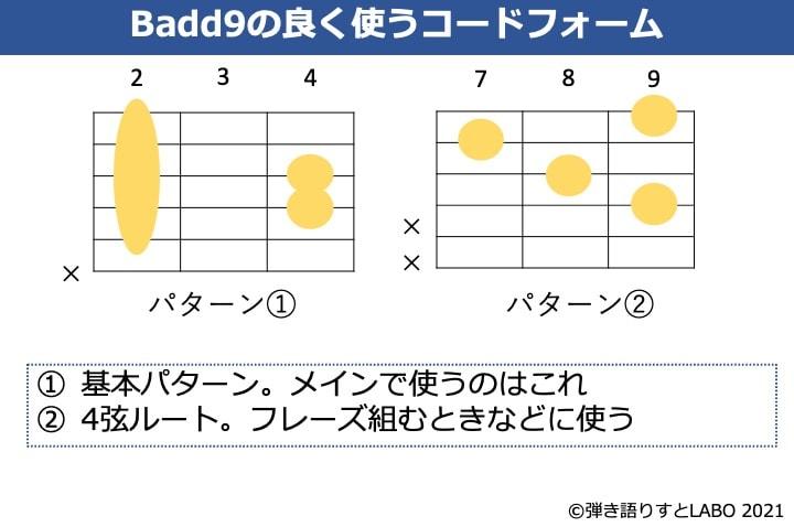 Baad9でよく使うギターコードフォーム