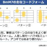 BmM7のギターコードフォーム 3種類