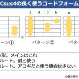 Csus4のよく使うコードフォーム 3種類