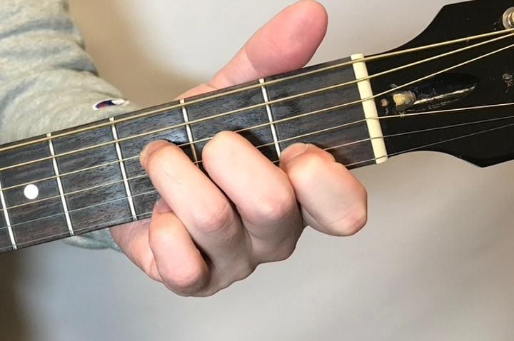 ギターでFmaj7を押さえている画像