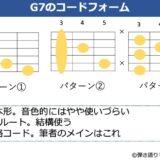 G7のギターコードフォーム 3種類