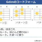 Gdimのギターコードフォーム 3種類