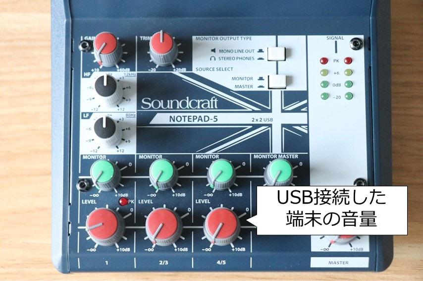 notepad-5のUSBオーディオ音量