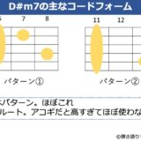 D#m7コードのギターコードフォーム 2種類