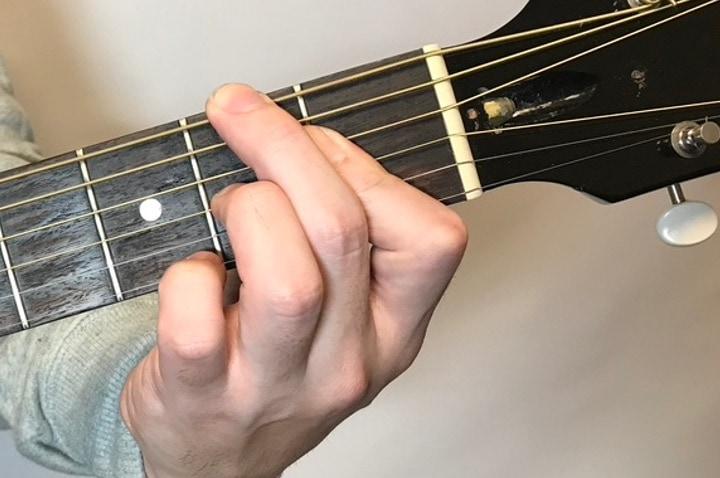 ギターでF#dimのコードフォームを押さえているところ