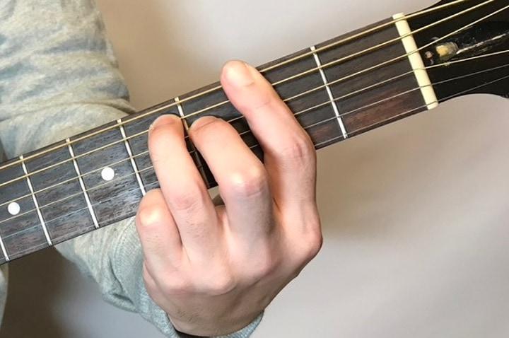 ギターでF#mM7コードを押さえているところ