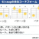 G♭augのギターコードフォーム 3種類