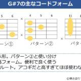 G#7の主なギターコードフォーム 3種類