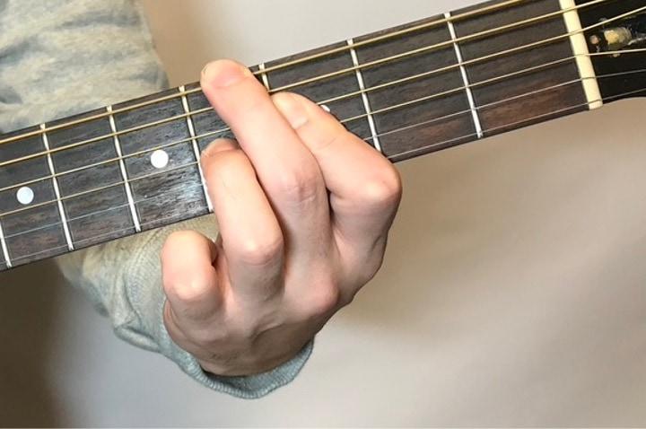ギターでG#dimコードを押さえているところ