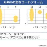G#mのギターコードフォーム 2種類
