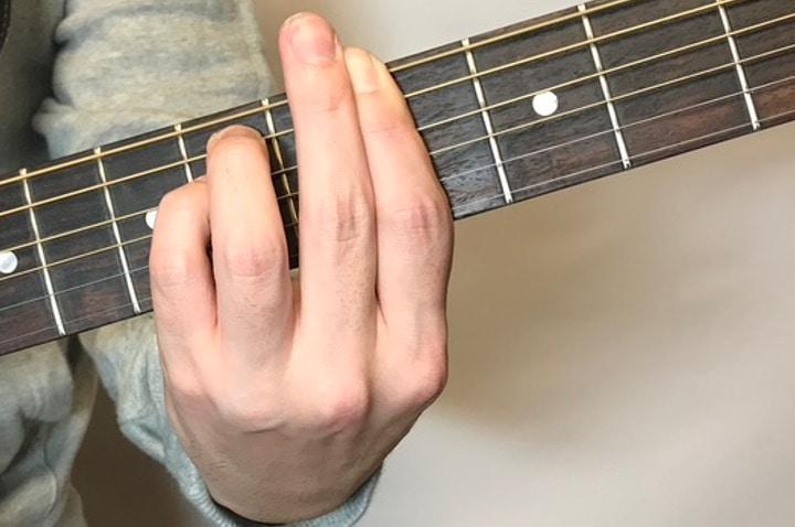 ギターでG#mコードを押さえているところ