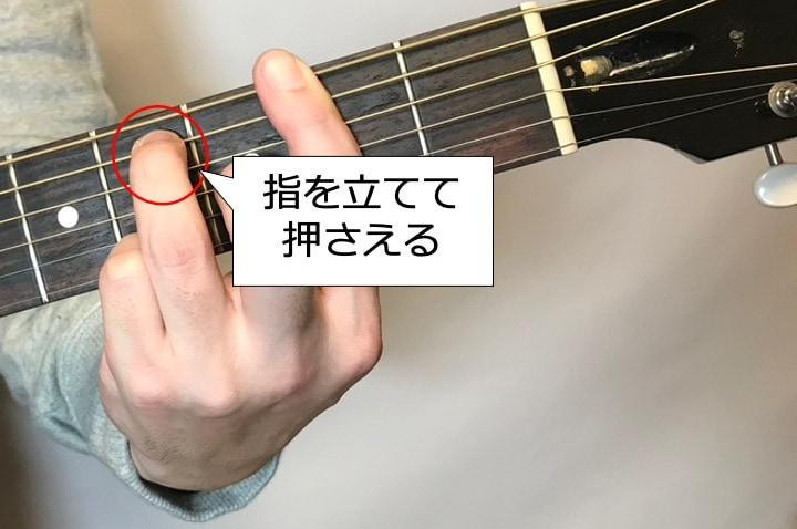 ギターでF#7を押さえるときは中指と薬指はしっかり立てて押さえる