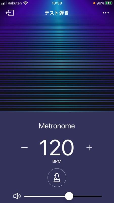 モバイル版SYNCROOMのメトロノーム画面