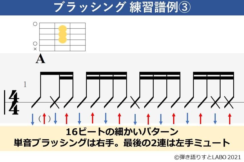 ブラッシング練習譜例3 16ビート基本パターン