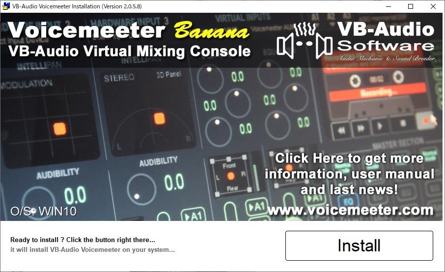 VOICEMEETER-BANANAのインストール画面