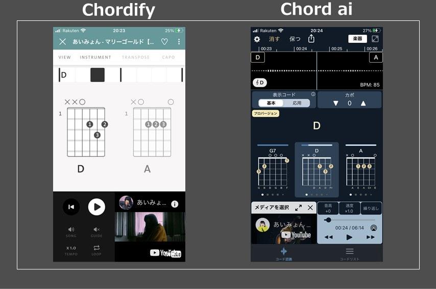 chordifyとchord aiの画面