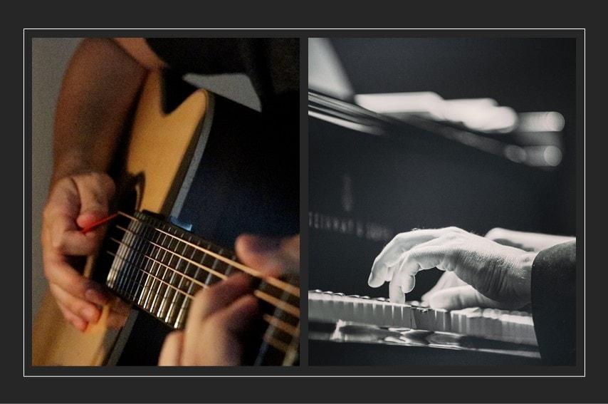ギターとピアノで弾いているところを並べた写真