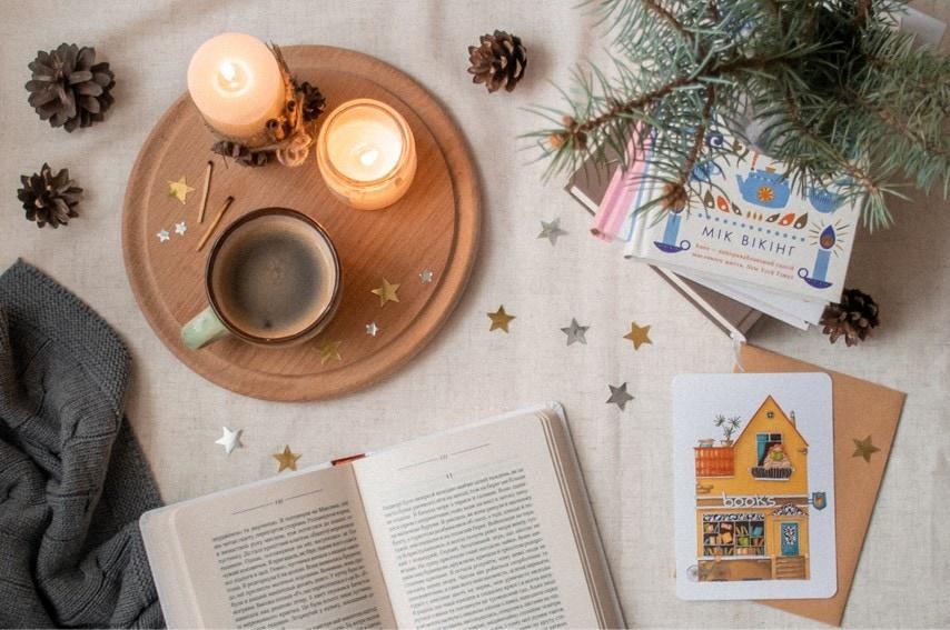 コーヒーと本とライト