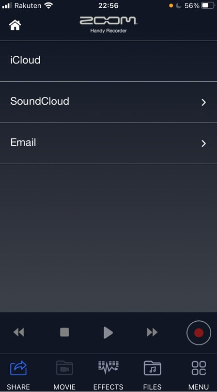 ZOOM Handy recorder iOS版のシェア画面